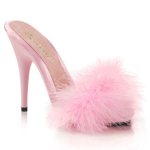 High-Heel Pantolette baby pink mit Marabufedern und kleinem Plateau POISE-501F
